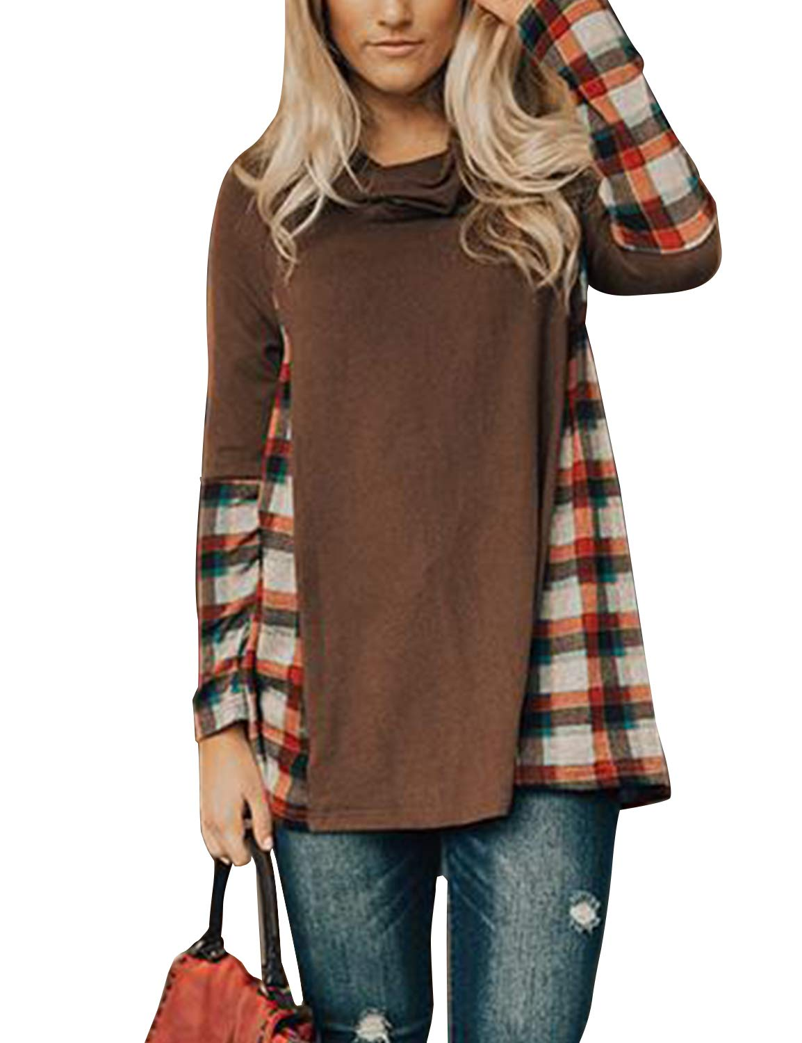 BMJL Women's Loose Plaid Blouse Turtle Neck Color Block Long Sleeve Top Brown