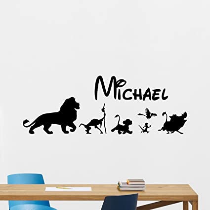 Personalized Lion King Wall Decal Custom Name Disney Cartoons Vinyl Sticker Simba Timon Pumbaa Scar Mufasa  sc 1 st  Amazon.com : lion king nursery wall decals - www.pureclipart.com