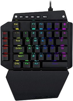K-700 Teclado mecánico para Juegos con retroiluminación LED RGB, interruptores Azules, 6 Teclas Macro, reposamuñecas Desmontable, Cable USB Tipo C, 44 ...