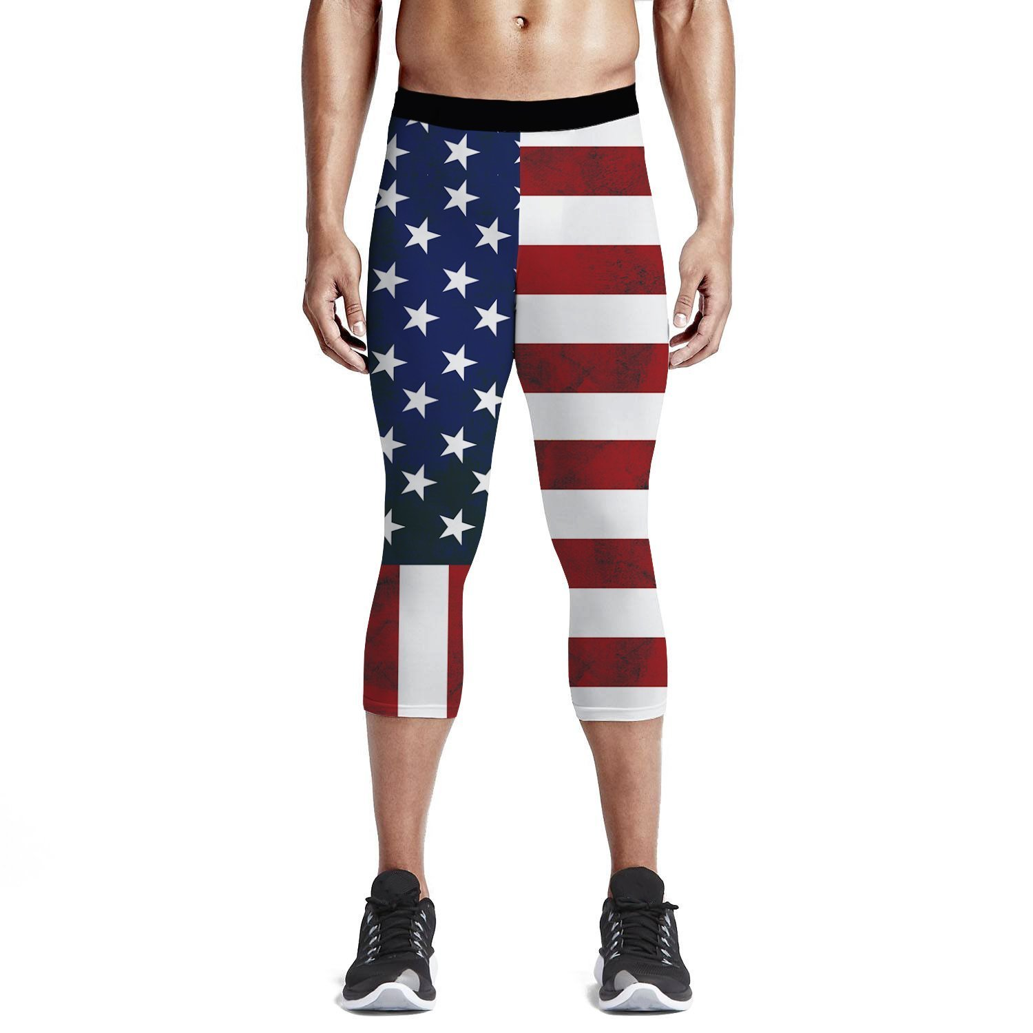 4db4c0142 Amazon.com: Men's Compression 3/4 Capri Shorts Baselayer Cool Dry Sports  Tights, American Flag Workout Running Tights Pants and Leggings: Clothing