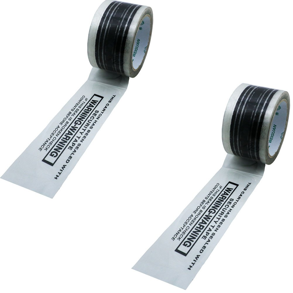 Hybsk 60MM(width) x 60M(length)Warning Tape Clear With Black Ink (2 Rolls)