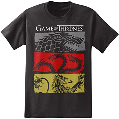 Amazoncom Hbos Game Of Thrones Mens 3 House Symbols Tee Black