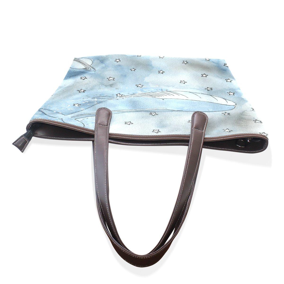 Mr.Weng Household Cartoon Whale And Starry Sky Lady Handbag Tote Bag Zipper Shoulder Bag