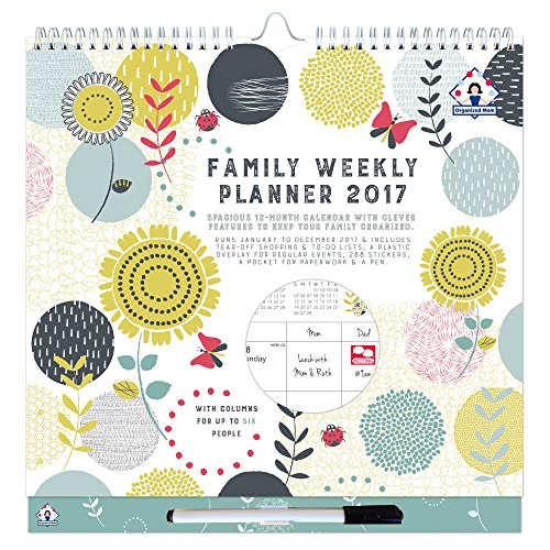 2017 Organized Mom Family Weekly Planner. Week-to-view family organizer with 6 columns. Wall calendar with overlay, perforated shopping lists, stickers, large paperwork pocket and clip-on pen.