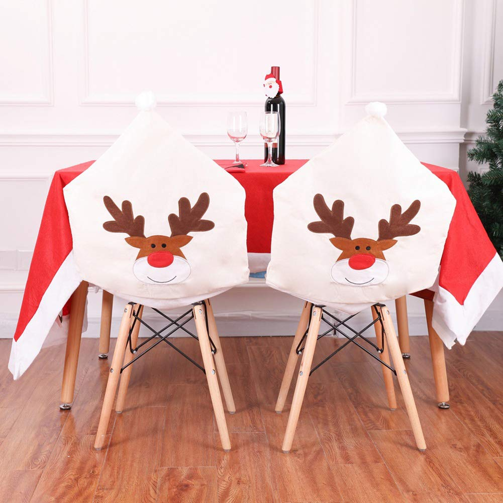 ZAILHWK 4pcs Christmas Chair Back Covers Deer Hat Chair Covers Elastic Stool Seat Covers for Dining or Kitchen Party Festival Decor by ZAILHWK
