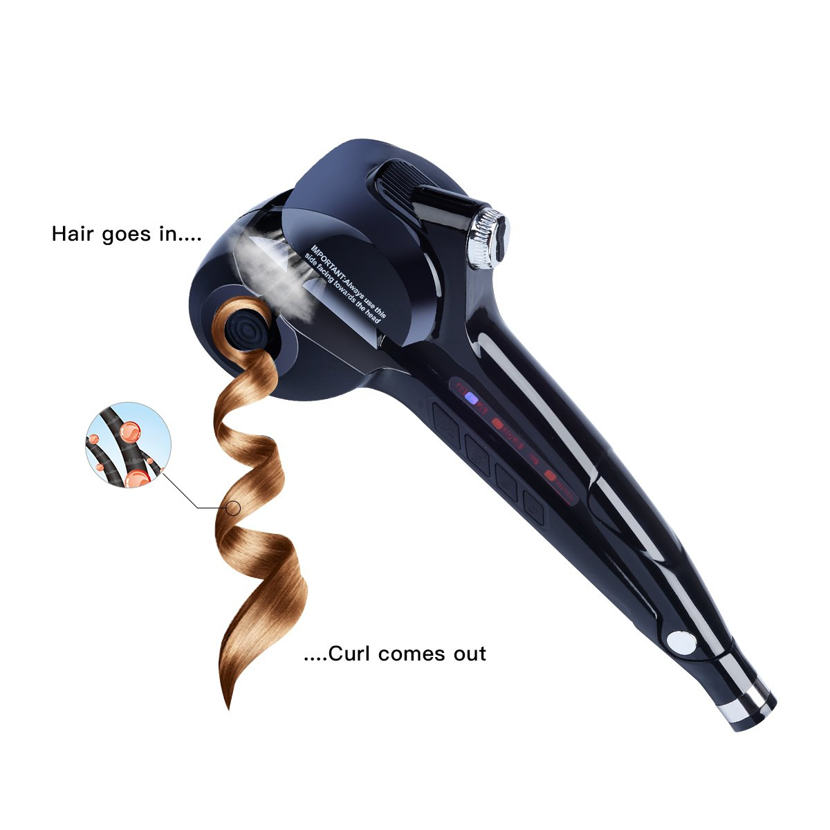 Amazon.com: Curling Iron-CkeyiN Professional Automatic Hair Steam Curler with LED Digital Display for Beautiful Style & Shine-No Damage to Your Hair and ...