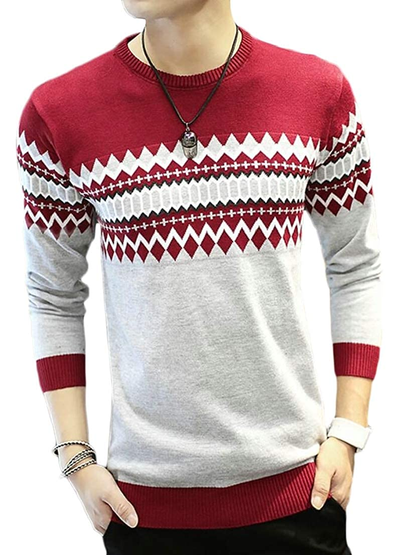 Generic Mens Slim Fit Autumn Round Neck Knitwear Patterns Knitting Pullover Sweaters