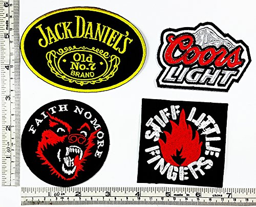 Set Rock music 497 Jack Daniels old no.7 Coors Light Faith Nomore Stiff Little Fingers Heavy Metal Music Punk Band Logo Embroidered Iron on Hat Hoodie Backpack Ideal for Birthday Gift (Jack Daniels Costume Diy)