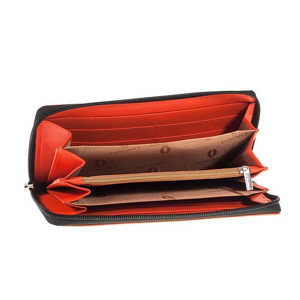 15d5c8f12d Portafoglio Donna nero e rosso zip ventaglio 6 scomparti vera pelle Made in  Italy Tuscan's: Amazon.it: Handmade