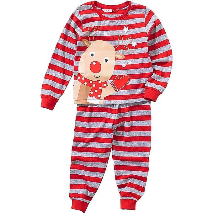 Boys Girls Baby Childs Cute Christmas Reindeer Novelty Striped Pyjamas Red Grey