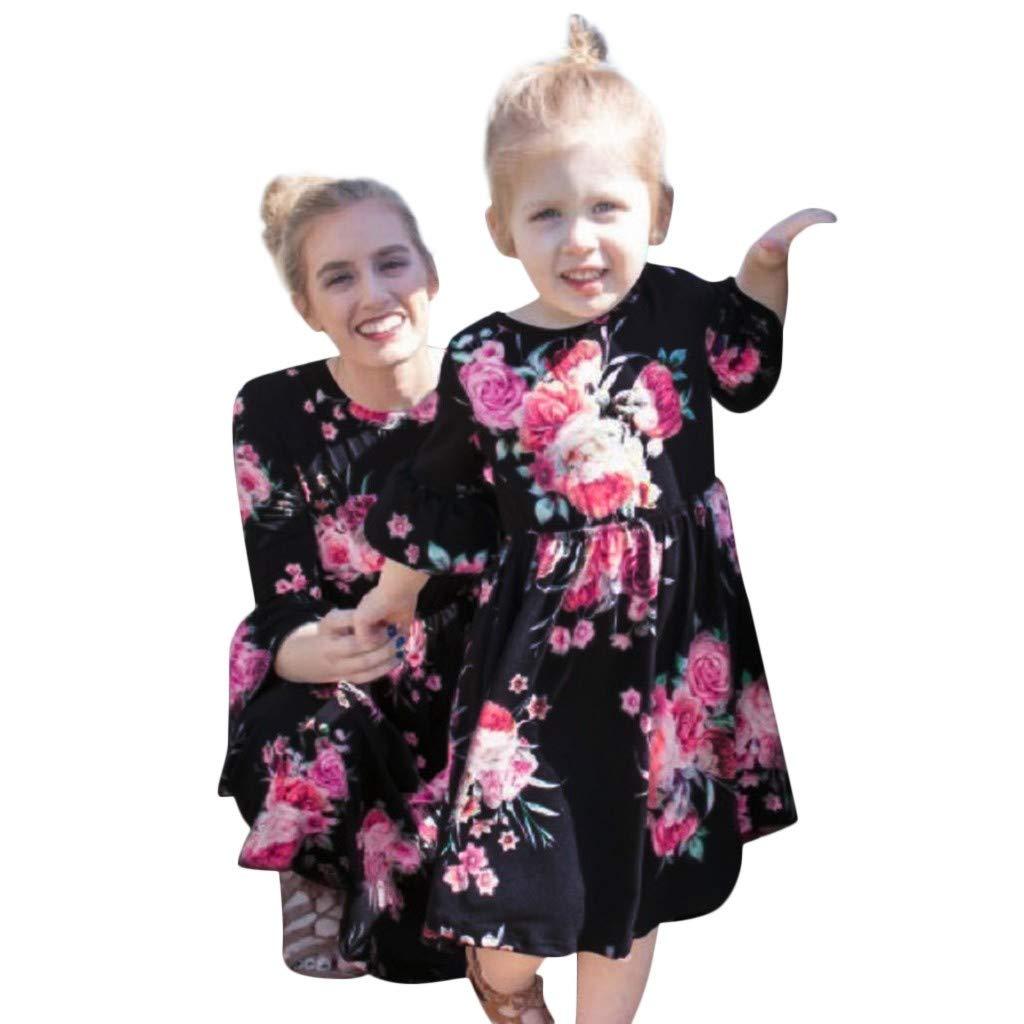 DAY8 Abiti Mamma e Figlia Abbigliamento Vestiti Mamma e Figlia Uguali Mamma e Me Abito a Fiori Abiti Famiglia Coordinati Vestito Mamma Moda Bambina Ragazza Manica Lunga