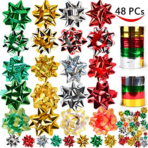 46 Christmas Gift Self Adhesive Bows & 8 Rolls of Christmas Curling Ribbons for Christmas Holiday Gifts, Bows, Baskets, Wine Bottles Decoration, Gift Wrapping and Decoration Present by - Christmas Ribbons