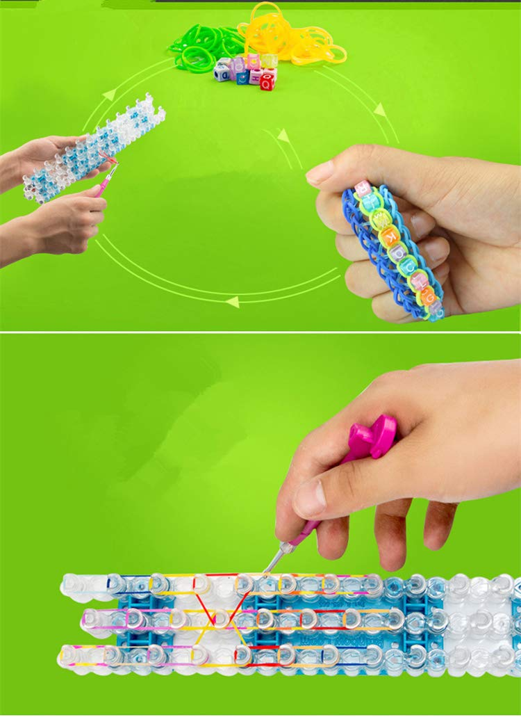 QICI 2 Pack Rainbow Loom Crafting Kit Includes Loom, Metal Hook, Mini Rainbow Loom