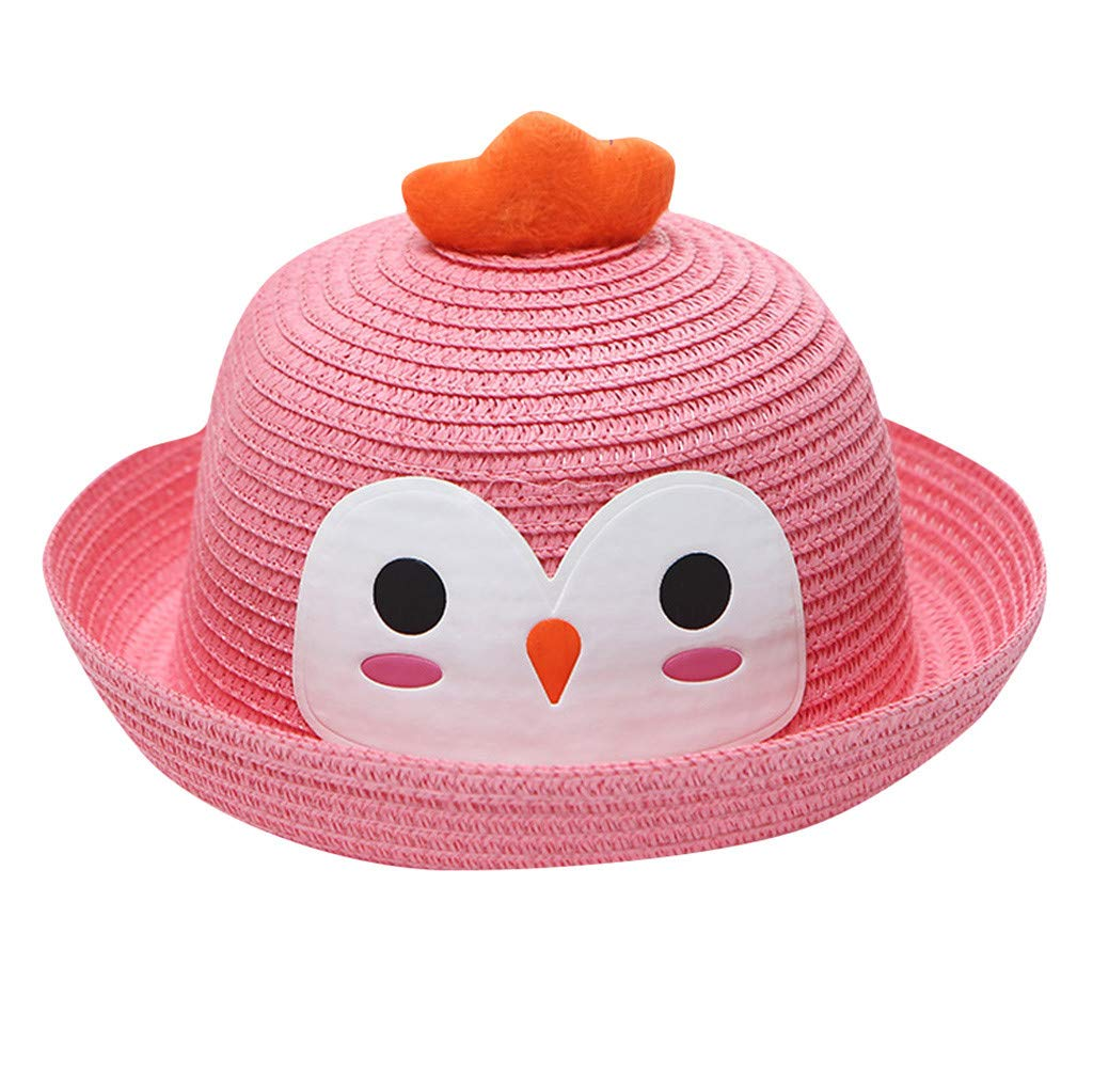 Little Kids Cartoon Straw Hat,Jchen Kids Baby Boys Girls Breathable Cartoon Bird Hat Ears Straw Sun Protection Hats for 2-6 Y (Pink)