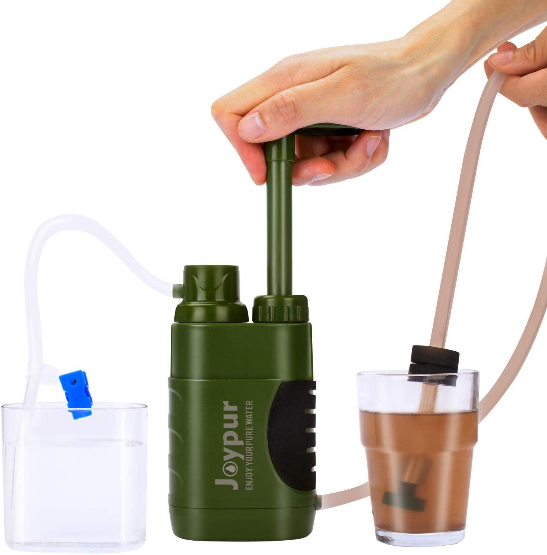 Joypur - Purificador de agua portátil para exteriores, para acampada, 0.01 micras, filtro de agua para mochileros de ...