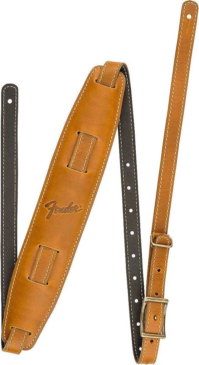 Fender® Mustang® Vintage Saddle Strap - Correa de Piel para Guitarra - Color: Butterscotch