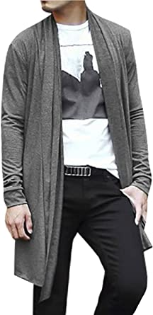 sourcing map Men Causal Ruffle Shawl Collar Open Front Long Sleeve Lightweight Knit Cardigan Gray L US 44