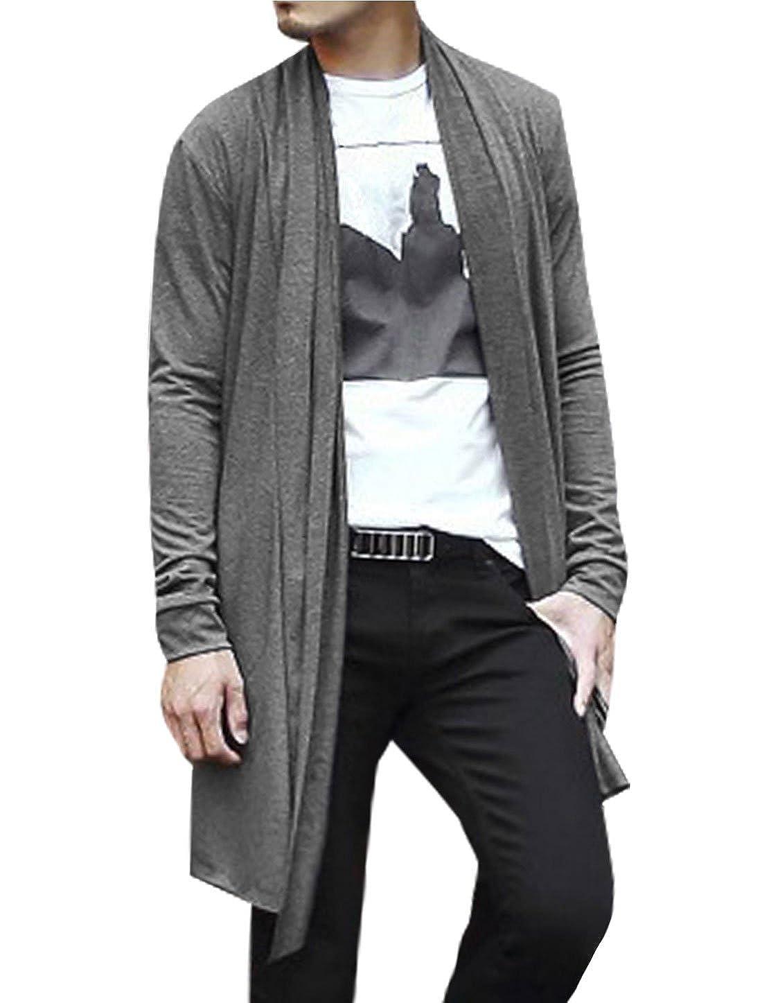 uxcell® Men Long Sleeve Pockets High-Low Hem Casual Long Cardigan S Grey a15042000ux0065