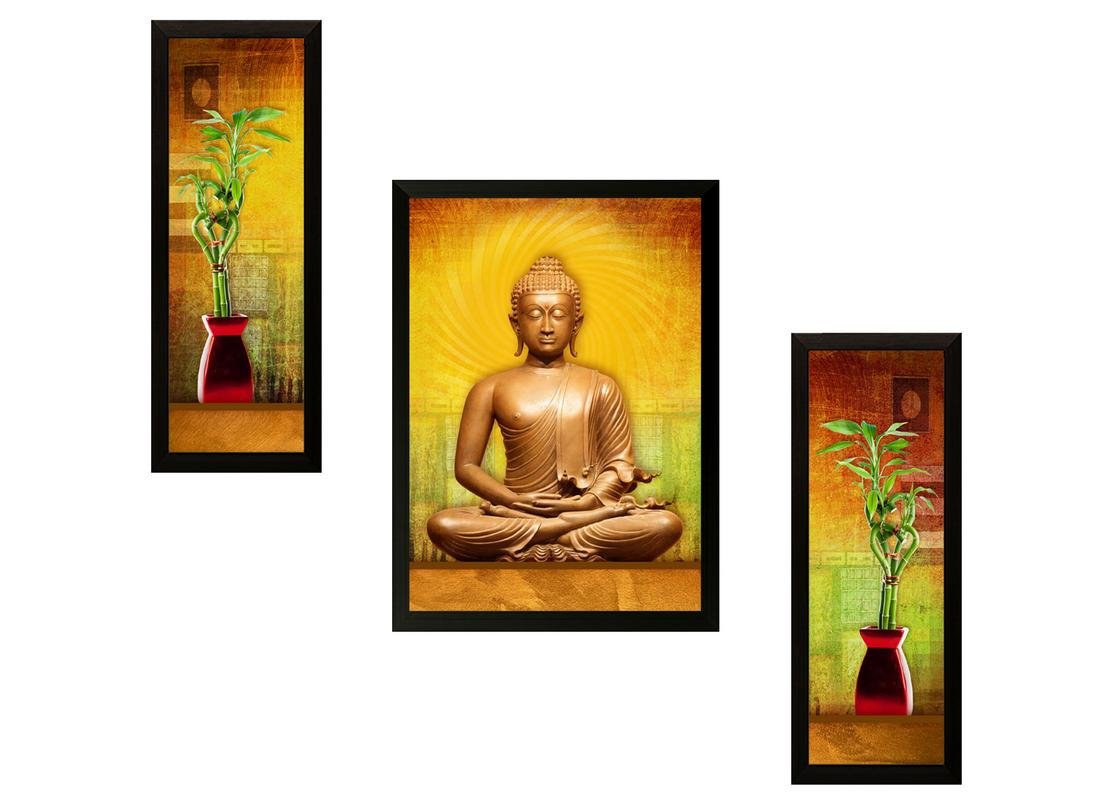 SAF Buddha Exclusive Framed Wall Art Painting (Wood, 12 inch x 12 ...