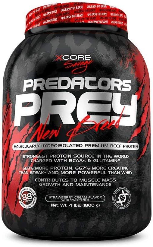 Predators Prey Pure Beef Protein Powder 1800g: Sabor a Fresa y Nata – Suplemento de carne hidroaislado molecularmente de primera calidad con 36g de ...