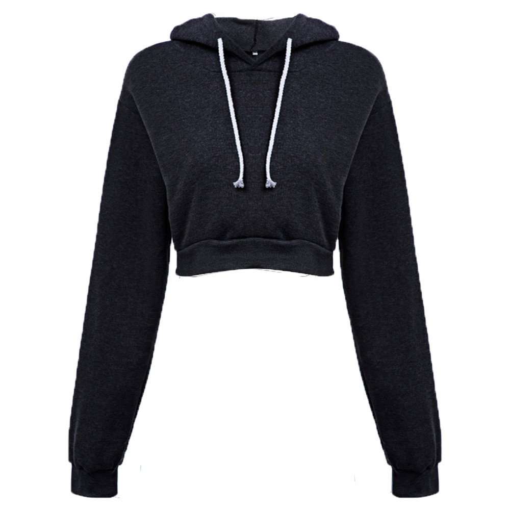 Women Casual Long Sleeve Hoodie Sweatshirt Drawstring Loose Solid Jumper Hooded Crop Pullover Tops