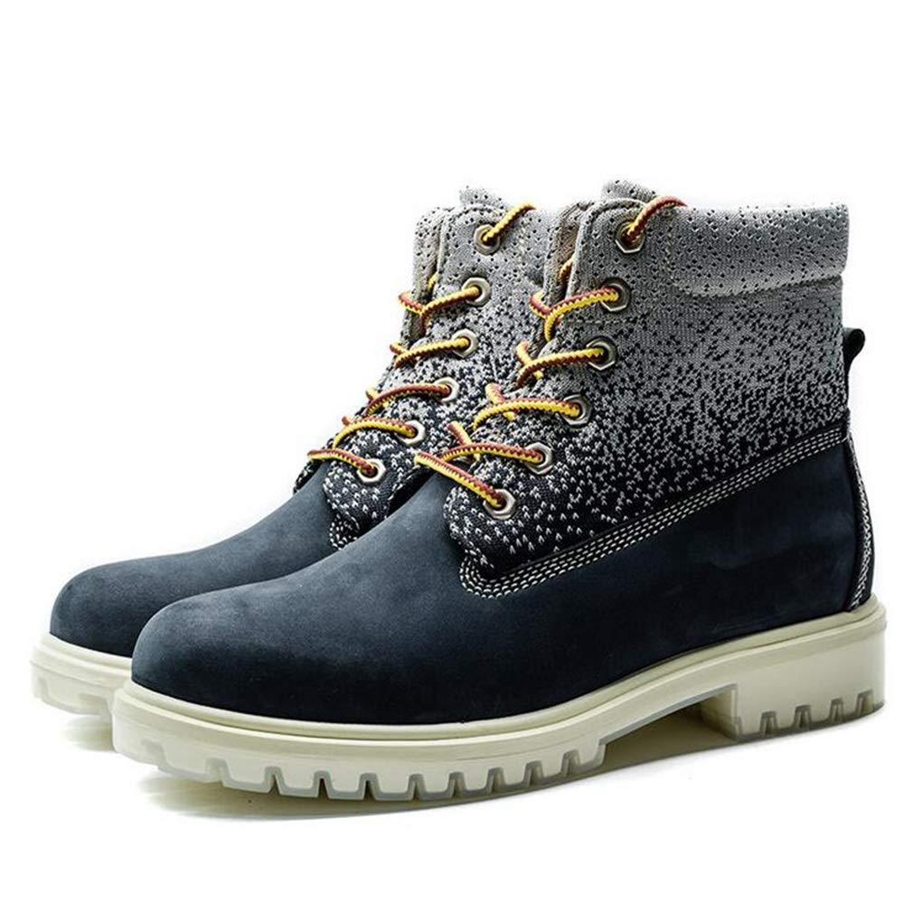 Hy Hy Hy Herren-Stiefel für Stiefel, Dicke Slip-On-Laufschuhe aus Leder, Formelle Schuhe, Reiseschuhe, Kletternde Turnschuhe (Farbe   Blau, Größe   40) a5da95