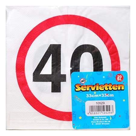 UDO Schmidt GmbH Servilletas 40 Decoración 40 cumpleaños ...