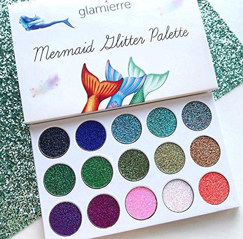 Glamierre Mermaid Glitter Eyeshadow Palette - 15 Ultra Creamy Pigmented Glitter Waterproof Long-Lasting  Pressed Glitter Eyeshadow Palette - Highly Pigmented Shimmer Eye Shadow Makeup Artist