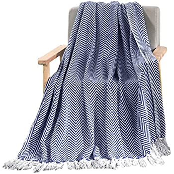 HollyHOME Lightweight Soft Herringbone Throw Blanket with Tassels  50 x 60  Inch  All Season. Amazon com  Navy and White Chain Link Knit Fashion Throw Blanket