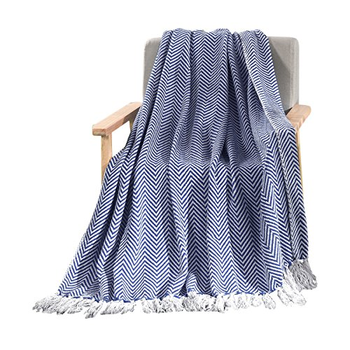 HollyHOME Oversized Herringbone Throw Blanket 50x60 Inches Navy Blue Warm Soft Microfiber All Season Blanket with Tassels