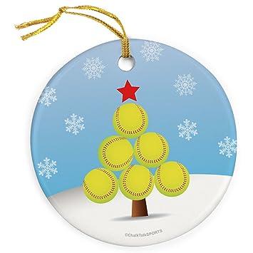 ChalkTalkSPORTS Christmas Tree Ornament | Softball Porcelain Ornaments - Amazon.com: ChalkTalkSPORTS Christmas Tree Ornament Softball