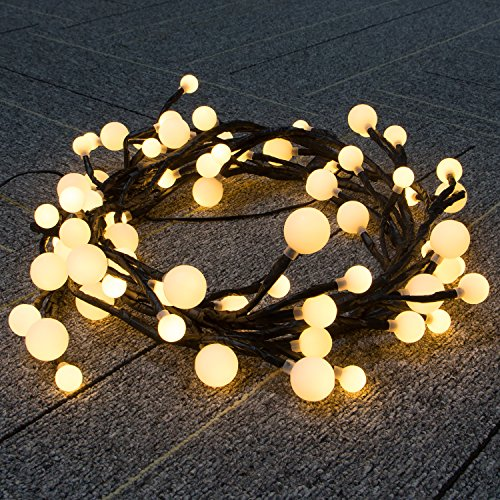 Alanda Decorative Black Vine Shaped Starry Night Lights 8.2ft 72 Bulbs with Warm White Light , Frosted Globe LED String Lights Waterproof for Home Garden Backyard Christmas Holiday Parties Wedding