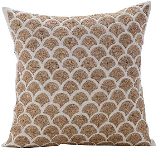 - The HomeCentric Decorative Pillow Covers 16 x 16 inch Beige, Cotton Throw Pillow Covers, Handmade Pillow Covers - Jute Trellis