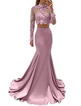 Promworld Womens High Neck Lace Long Sleeve 2 Piece Prom Dresses Mermaid Homecoming Gowns Blush US2