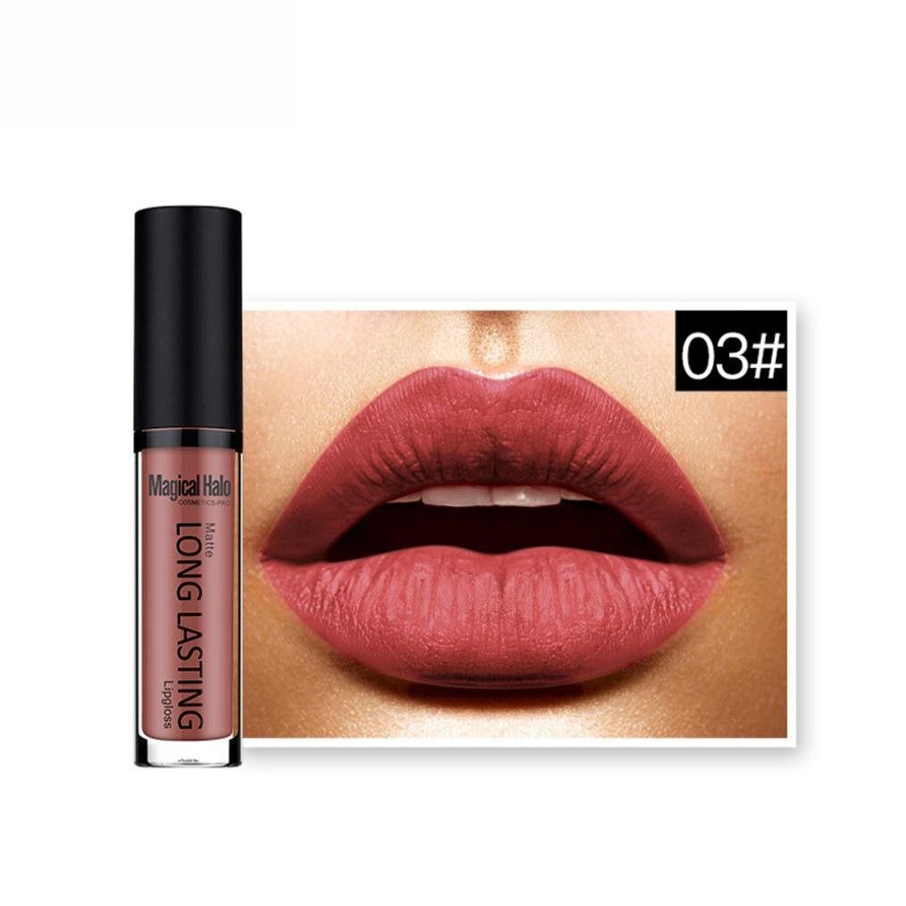 VIASA 1PC Fashion Waterproof Long Lasting Matte Liquid Lipstick Sexy Beauty Lip Gloss 18 Colors (C)
