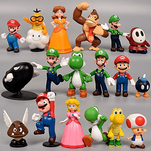 Super Mario Brothers Cake Topper | 18 Piece Action Figures