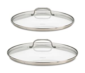 """Cuisinart 71-2228CG Chef's Classic Stainless 2-Piece Glass Lid Set,9"""" & 11"""" Glass covers"""
