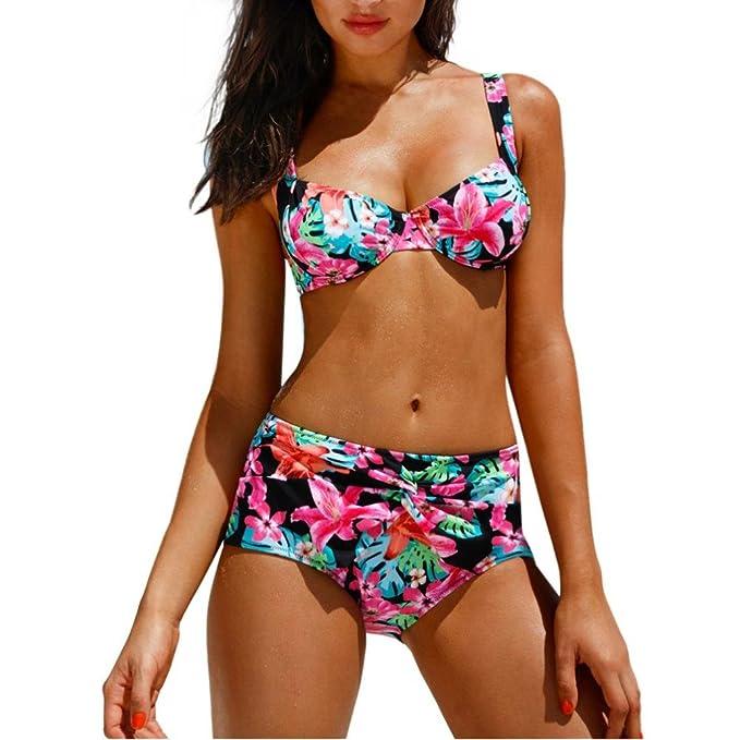 e05de788ae Viahwyt Women Sexy Bikini Set Floral Printing Swimwear Padded Swimsuit  Ladies Bandage Bathing Suit Push-up Bra Summer Beachwear: Amazon.co.uk:  Clothing