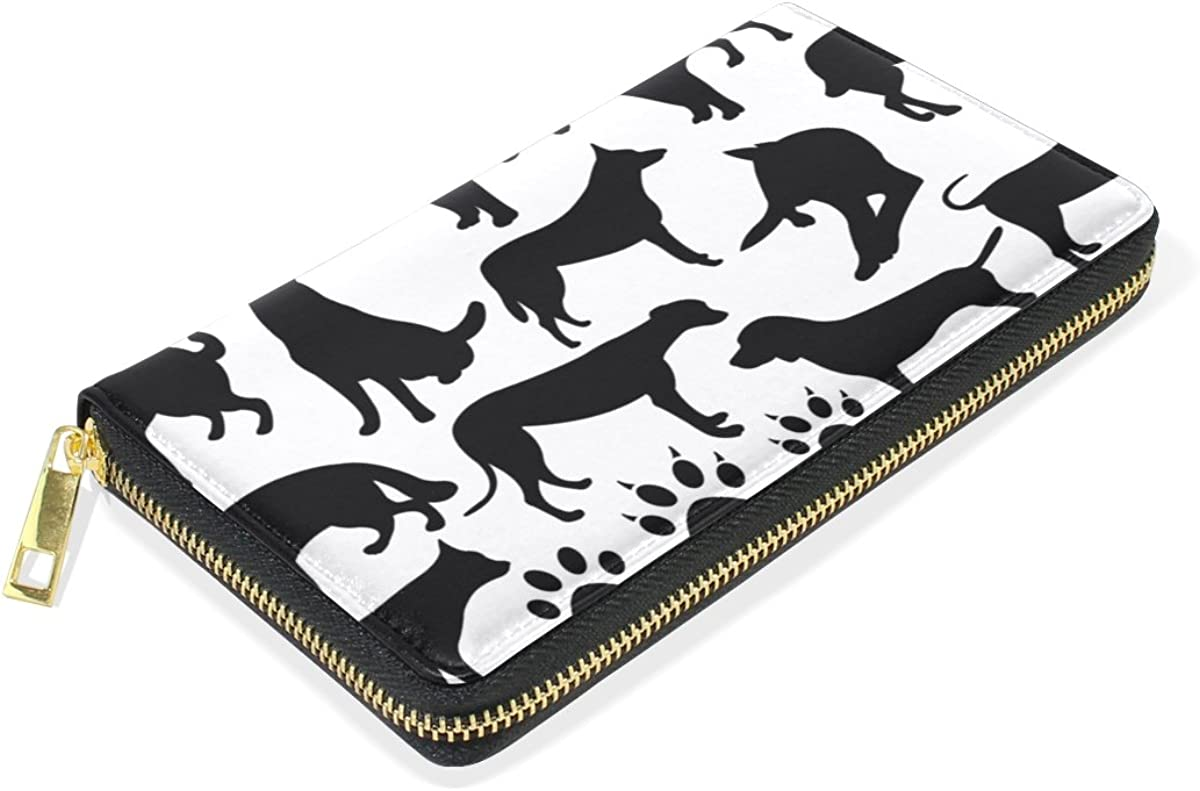 LAVOVO Dogs Silhouette Collage Womens Clutch Purses Organizer And Handbags Zip Around Wallet