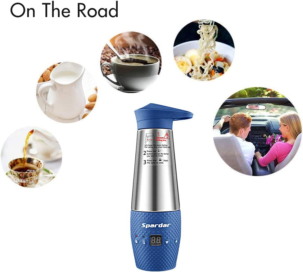 Spardar Water Heating Cup for Car Double Wall Vacuum Insulated Stainless Steel Automatic Working Car Cigarette Lighter DC12V Electric Kettle Boil Water (Gray) Blue