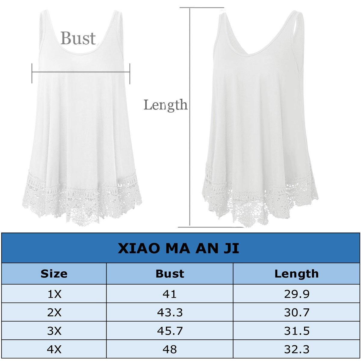 XiaoMaAnJi Plus Size Swing Lace Flowy Tank Top for Women (Black, 1X) by XiaoMaAnJi (Image #4)