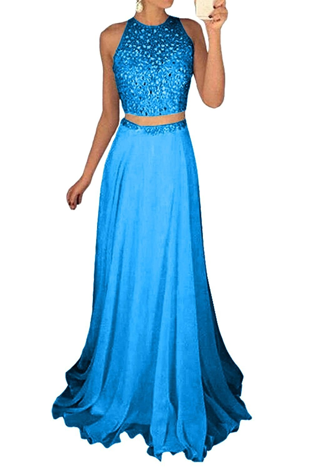 a731c875354 Icy Sun Women's Long Two Piece Prom Dresses with Sparkly Sequins Evening  Party Gowns ICYL079