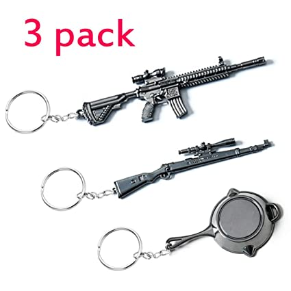 PUBG Gifts Souvenir Model Key Chain Accessories,Key Ring-M416+Kar98k+Pan Metal Model for PUBG Fans (M416 Kar98K Pan Keychain Accessories)