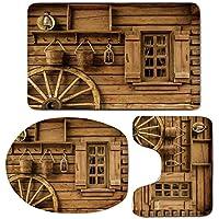 3 Piece Bath Mat Rug Set,Western-Decor,Bathroom Non-Slip Floor Mat,Wagon-Wheel-next-to-a-Rustic-Wooden-House-with-Vintage-Lantern-Window-and-Retro-Buckets,Pedestal Rug + Lid Toilet Cover + Bath Mat,