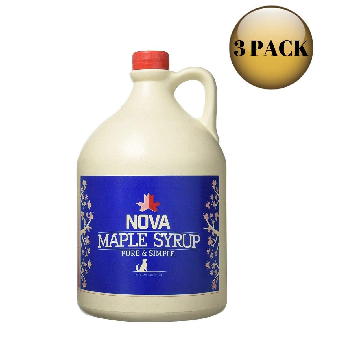 Nova Maple Syrup - Pure Grade-A Maple Syrup (Gallon Pack of 3) by Nova Maple Syrup (Image #1)