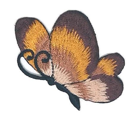 Pequeño tamaño marrón mariposa dibujos bordados coser hierro sobre bordado apliques manualidades hecho a mano bebé
