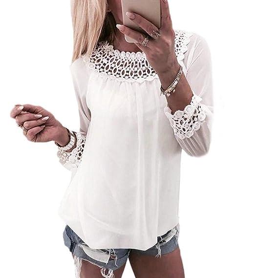 Logobeing Mujeres Gasa Moda Encaje Empalmar Tops Manga Larga Camisa Blusa (S, Blanco)