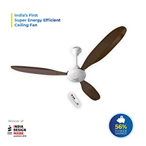 Super Fan X1 Ceiling Fan with Remote Control (35Watts, Brown)
