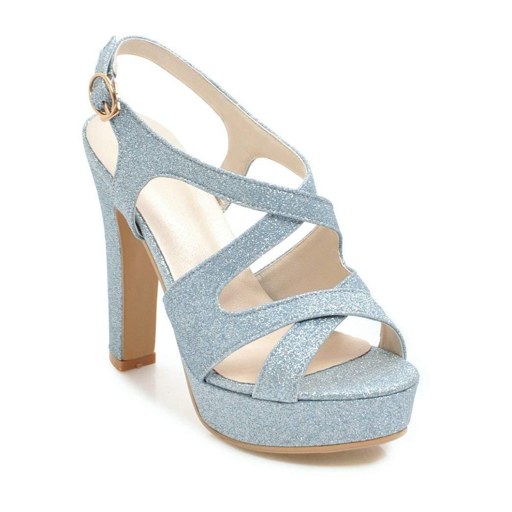 bluee MEIZOKEN Womens Ankle Strap Block Heel Platform Sandal Peep Toe Crisscross Strappy Cutout Party Pump Sandals