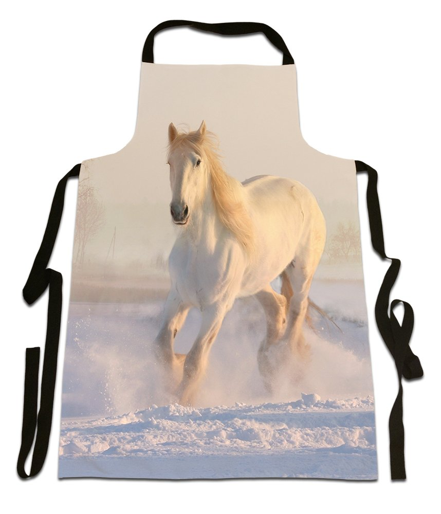 White Horse In The Snow, Photographic Image, Canvas Apron, Size 25in x 35in approximately Fresh Publishing Ltd
